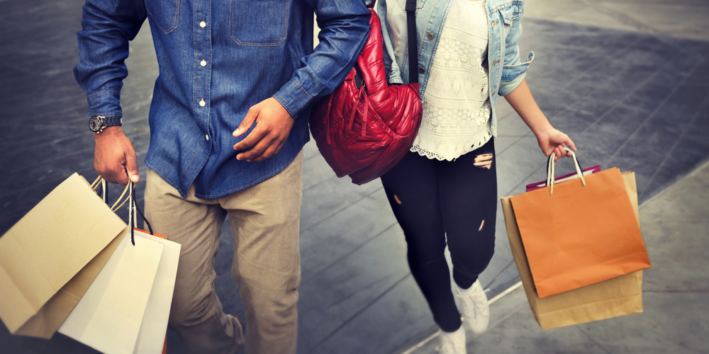Man And Woman Posing Shopping